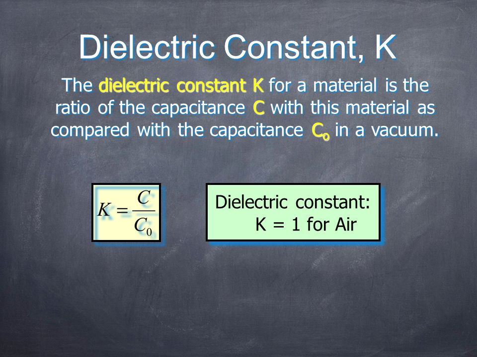 Dielectric constant: K = 1 for Air