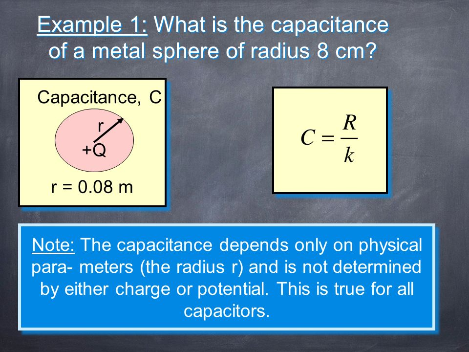 Example 1: What is the capacitance of a metal sphere of radius 8 cm