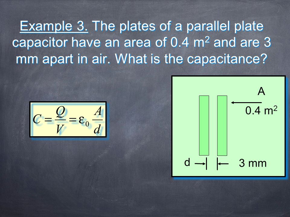 Example 3. The plates of a parallel plate capacitor have an area of 0
