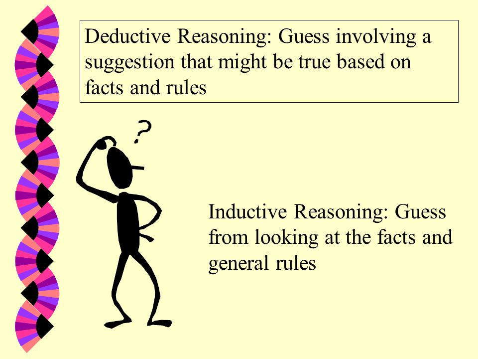 Deductive Reasoning: Guess involving a suggestion that might be true based on facts and rules