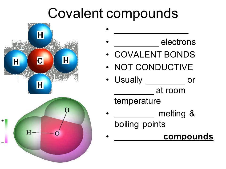 Covalent compounds _______________ _________ electrons COVALENT BONDS