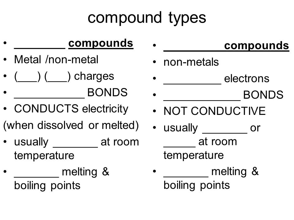 compound types ________ compounds _________ compounds Metal /non-metal