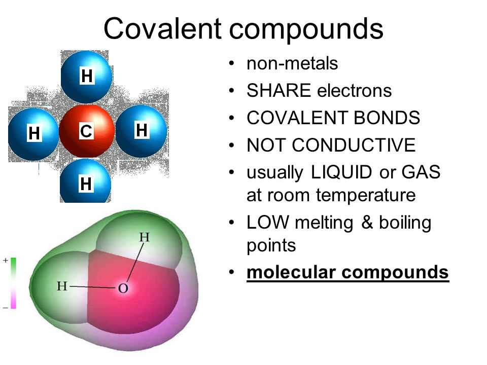 Covalent compounds non-metals SHARE electrons COVALENT BONDS