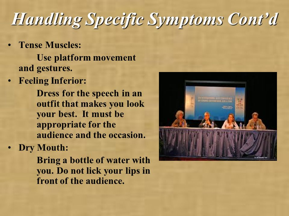 Handling Specific Symptoms Cont'd