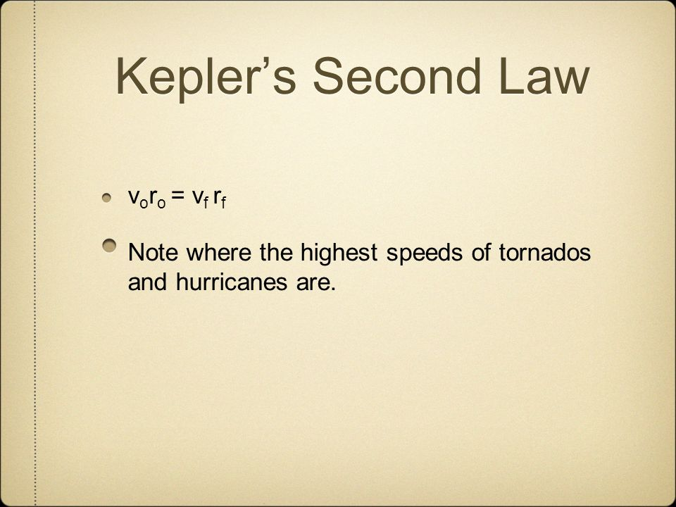 Kepler's Second Law voro = vf rf Note where the highest speeds of tornados and hurricanes are.