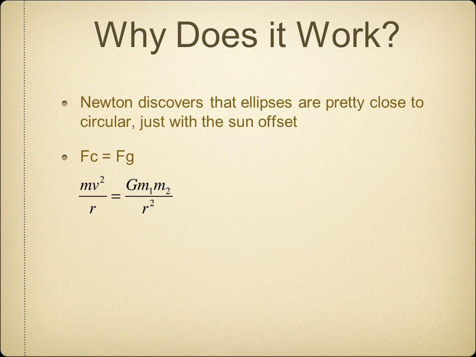 Why Does it Work Newton discovers that ellipses are pretty close to circular, just with the sun offset.