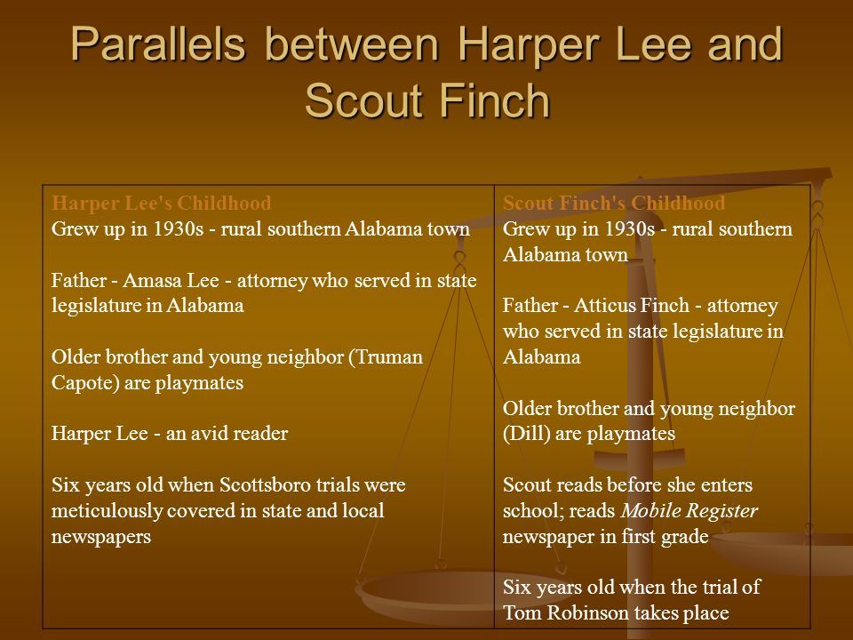 similarities between scout and harper lee I will review the similarities of lee's life to her pulitzer prize--winning novel to kill a mockingbird some similarities between harper lee and her novel to kill a mockingbird are the like scout, harper lee attended the public grammar school and developed an interest in.