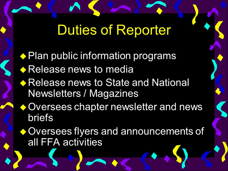 Duties of Reporter Plan public information programs