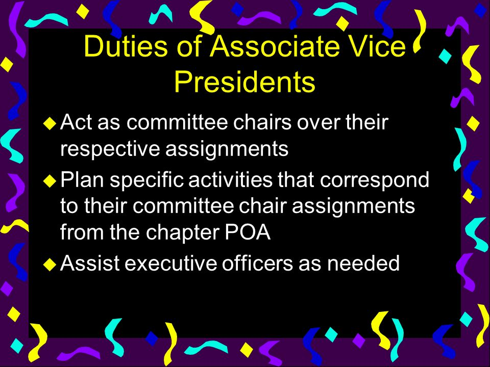 Duties of Associate Vice Presidents