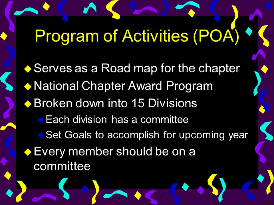 Program of Activities (POA)