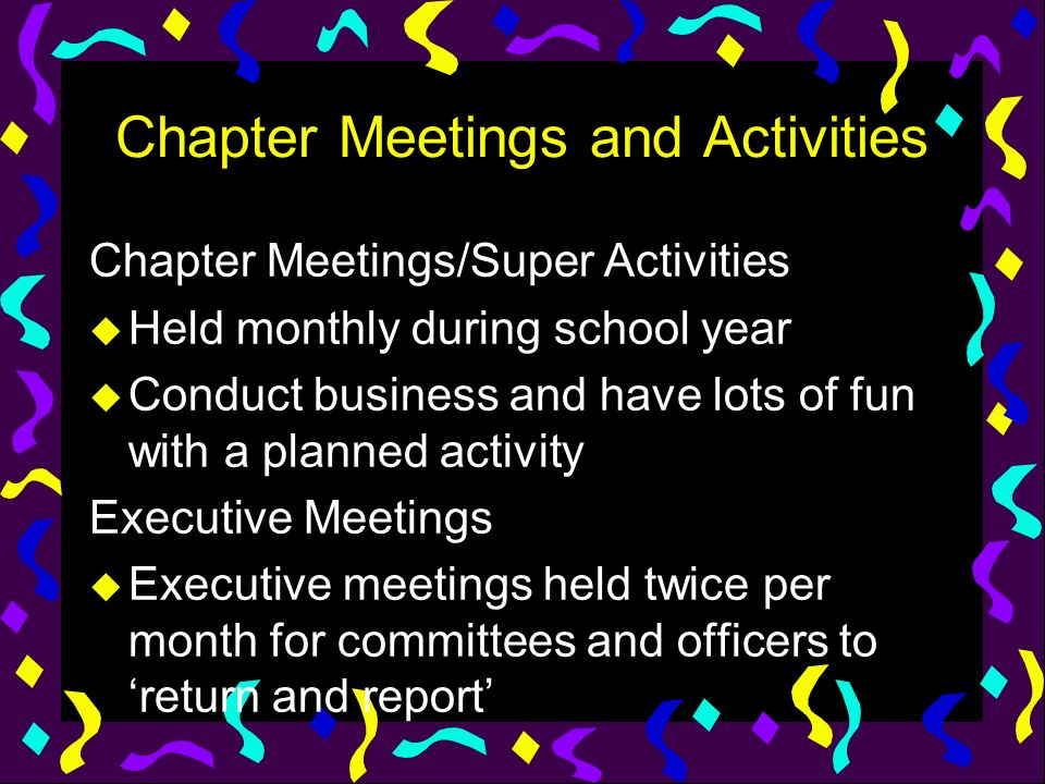 Chapter Meetings and Activities