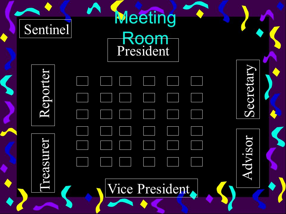 Meeting Room Sentinel President Secretary Reporter Advisor Treasurer