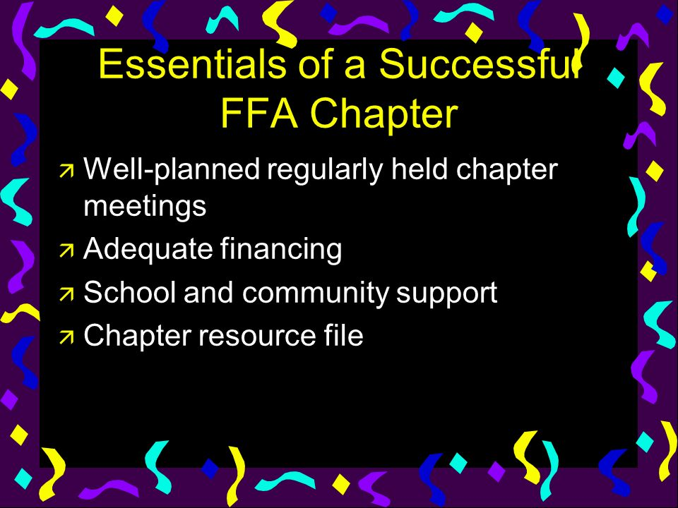 Essentials of a Successful FFA Chapter