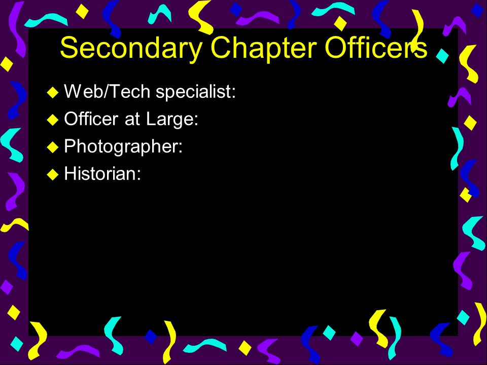 Secondary Chapter Officers