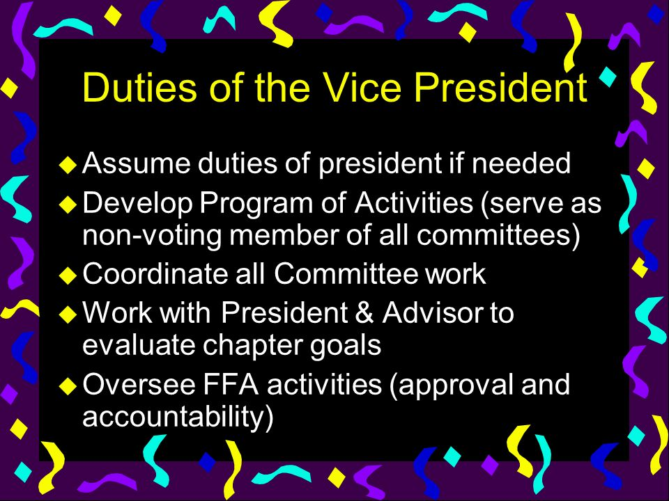 Duties of the Vice President