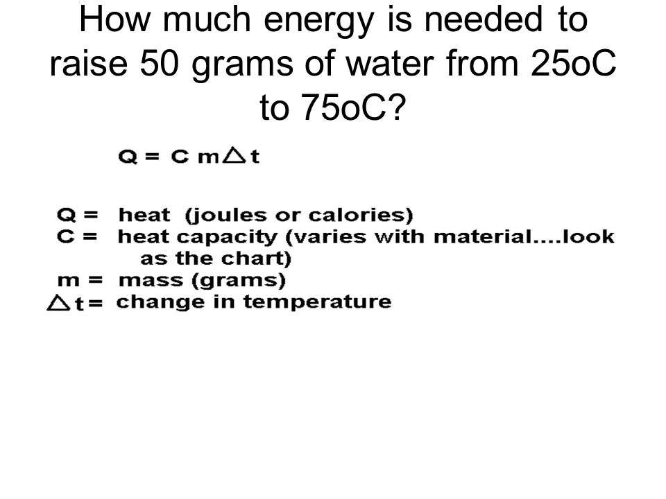 How much energy is needed to raise 50 grams of water from 25oC to 75oC