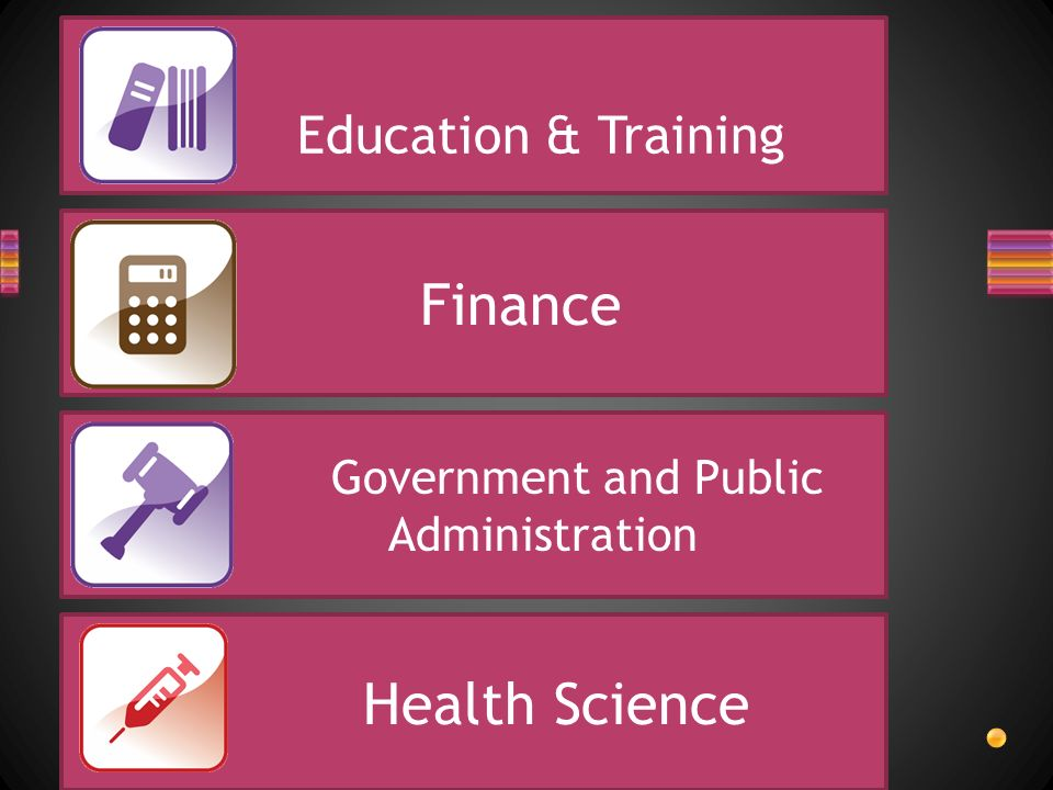 Education & Training Finance Government and Public Administration