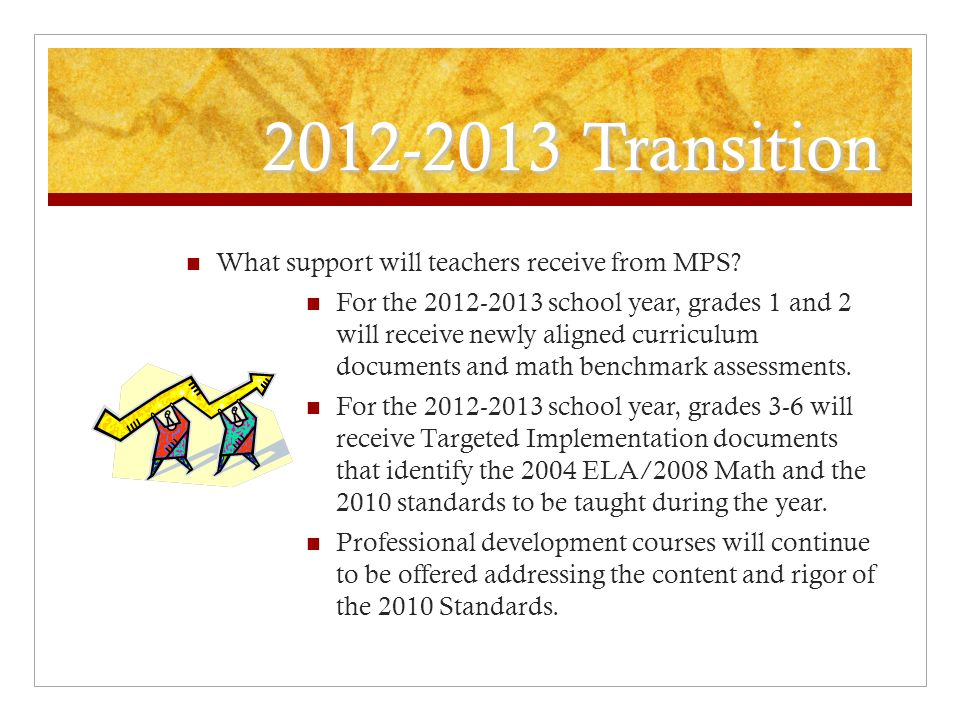 2012-2013 Transition What support will teachers receive from MPS