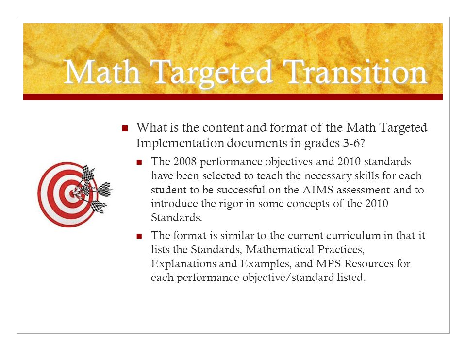 Math Targeted Transition