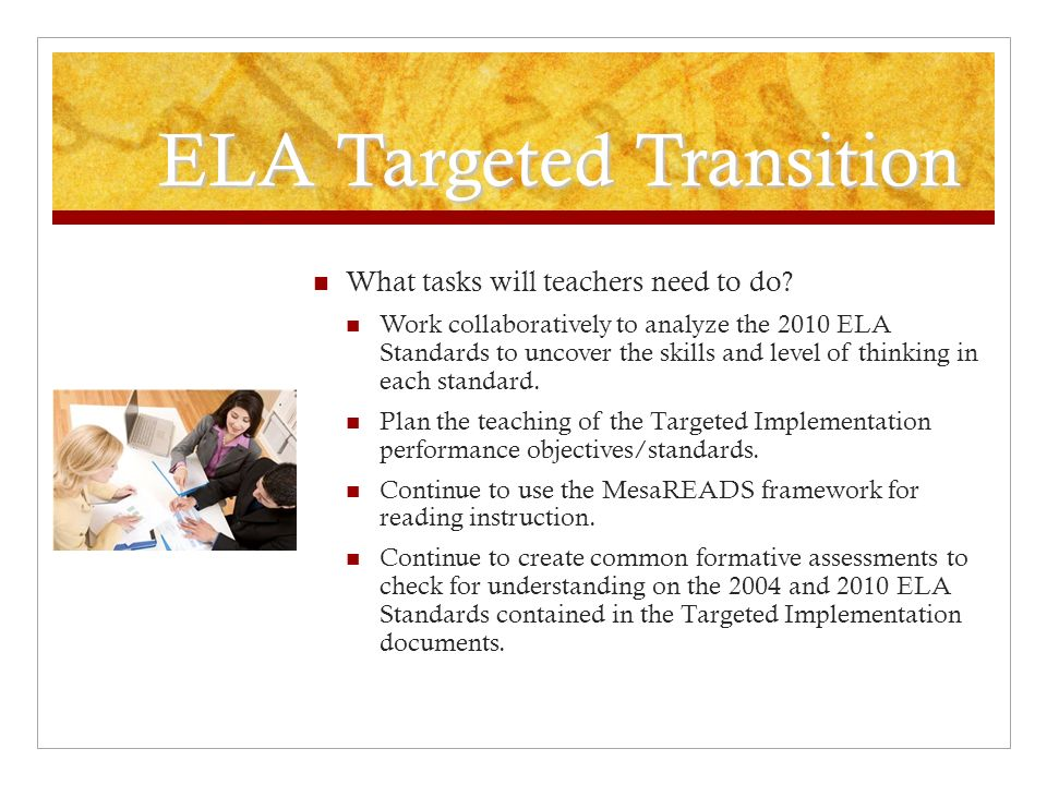 ELA Targeted Transition