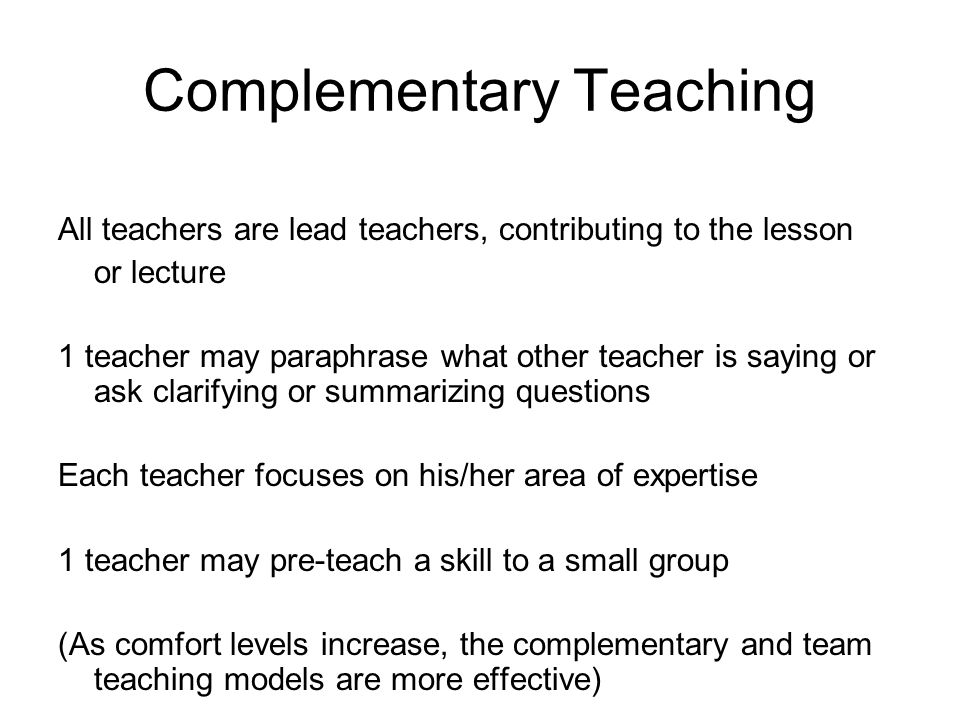 Complementary Teaching