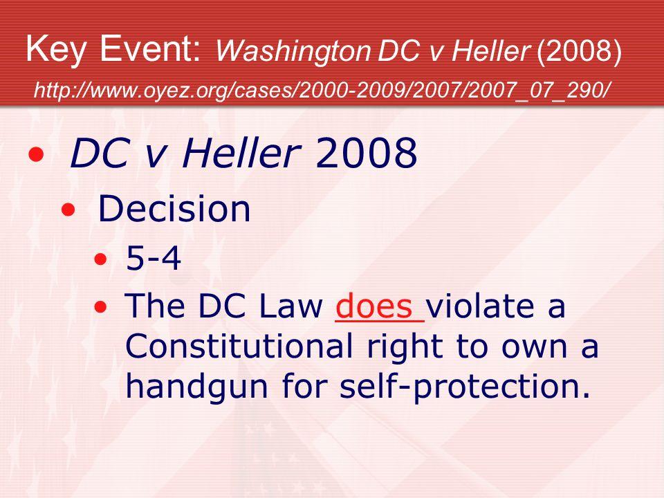 Key Event: Washington DC v Heller (2008) http://www. oyez