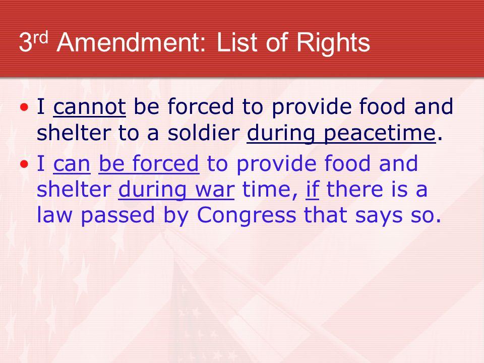 3rd Amendment: List of Rights