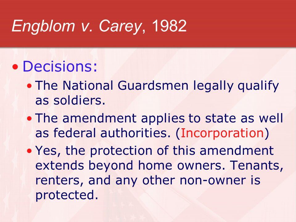 Engblom v. Carey, 1982 Decisions: