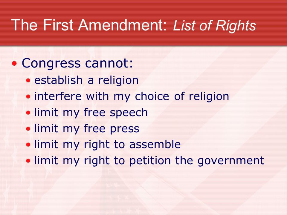 The First Amendment: List of Rights