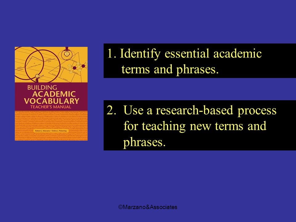 1. Identify essential academic terms and phrases.