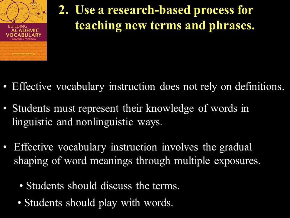 2. Use a research-based process for teaching new terms and phrases.