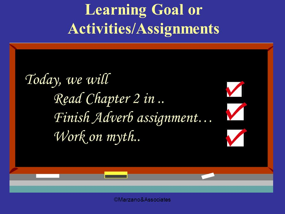 Learning Goal or Activities/Assignments