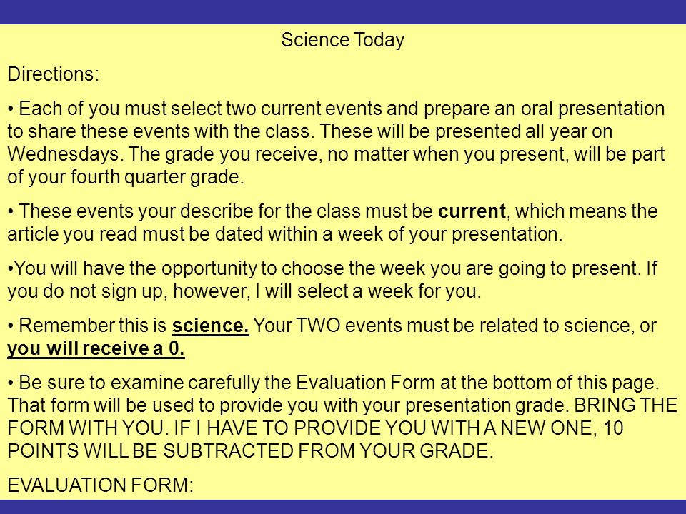 Science Today Directions: