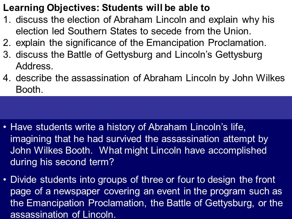 Learning Objectives: Students will be able to