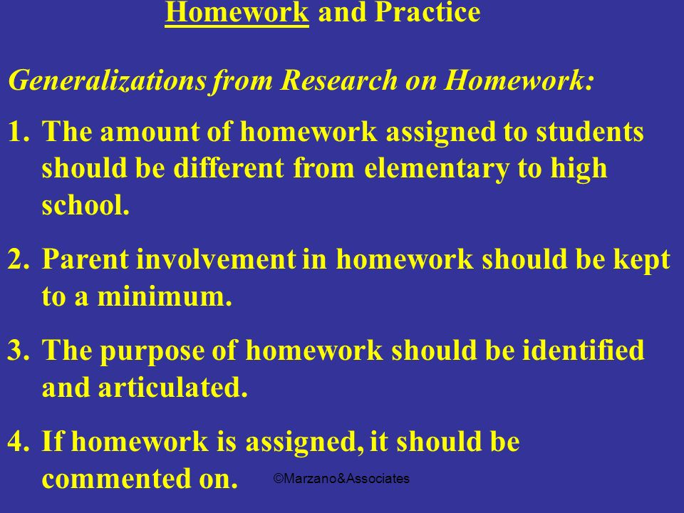Generalizations from Research on Homework: