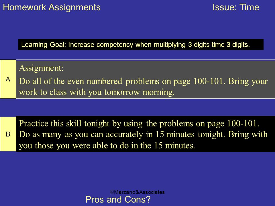 Homework Assignments Issue: Time
