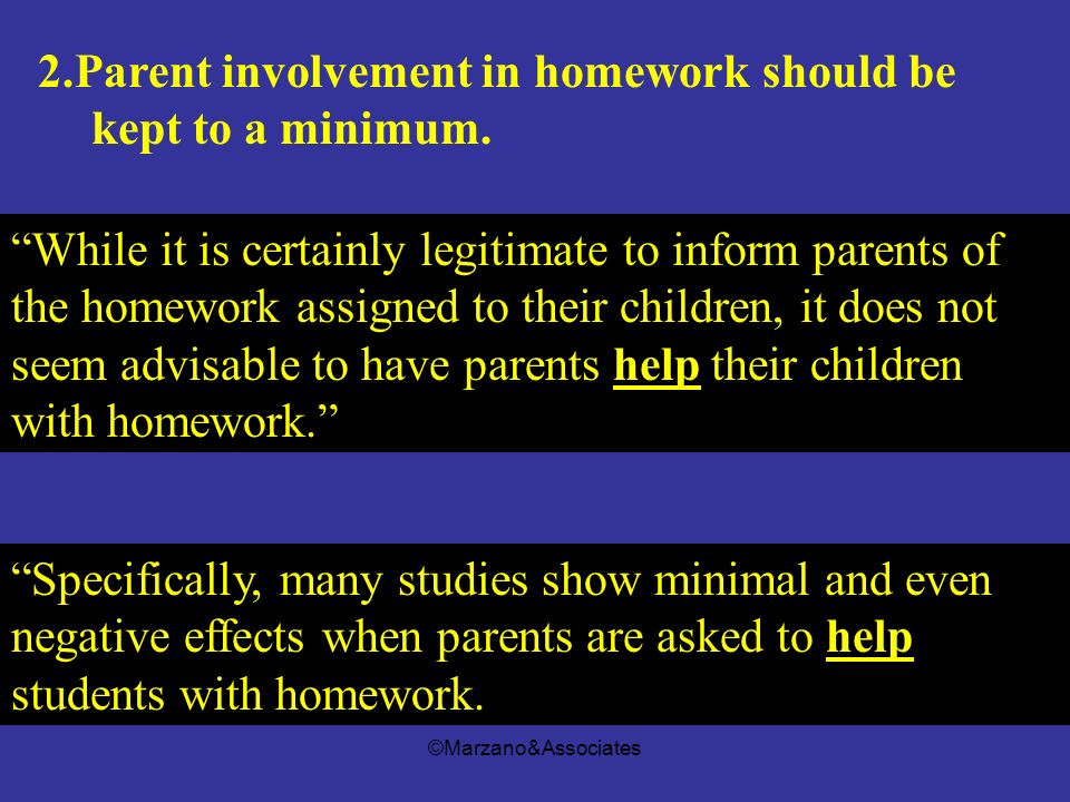 2.Parent involvement in homework should be kept to a minimum.