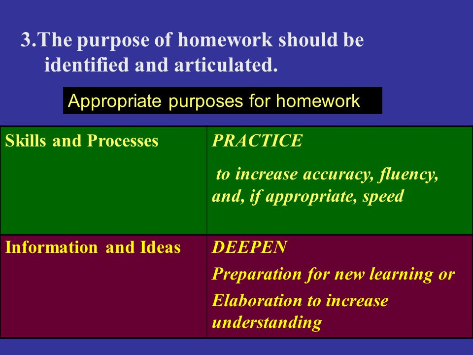 3.The purpose of homework should be identified and articulated.