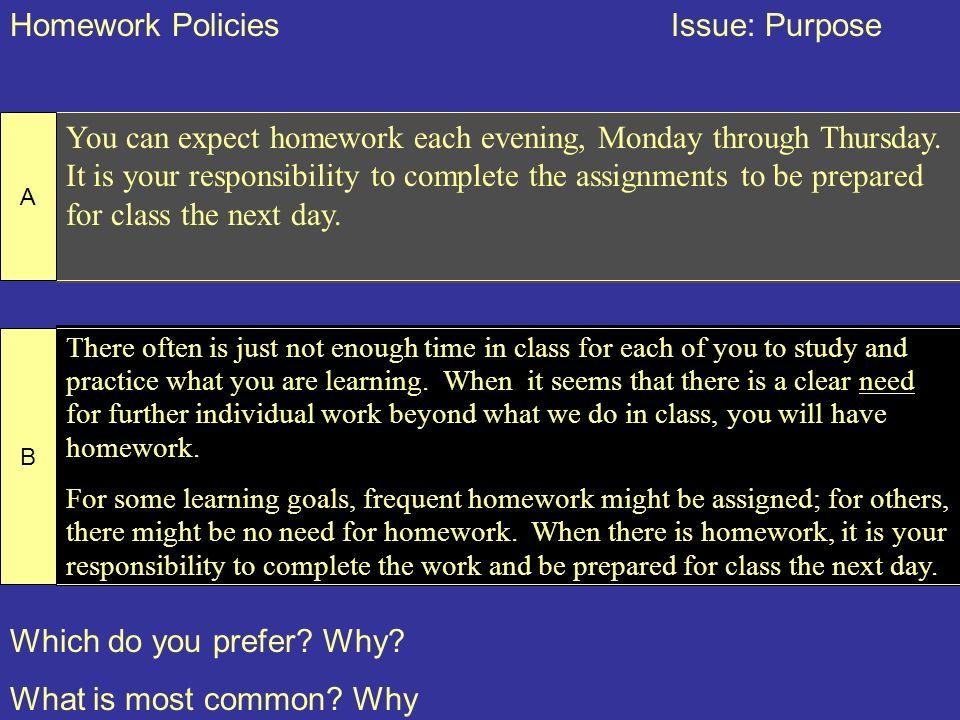 Homework Policies Issue: Purpose