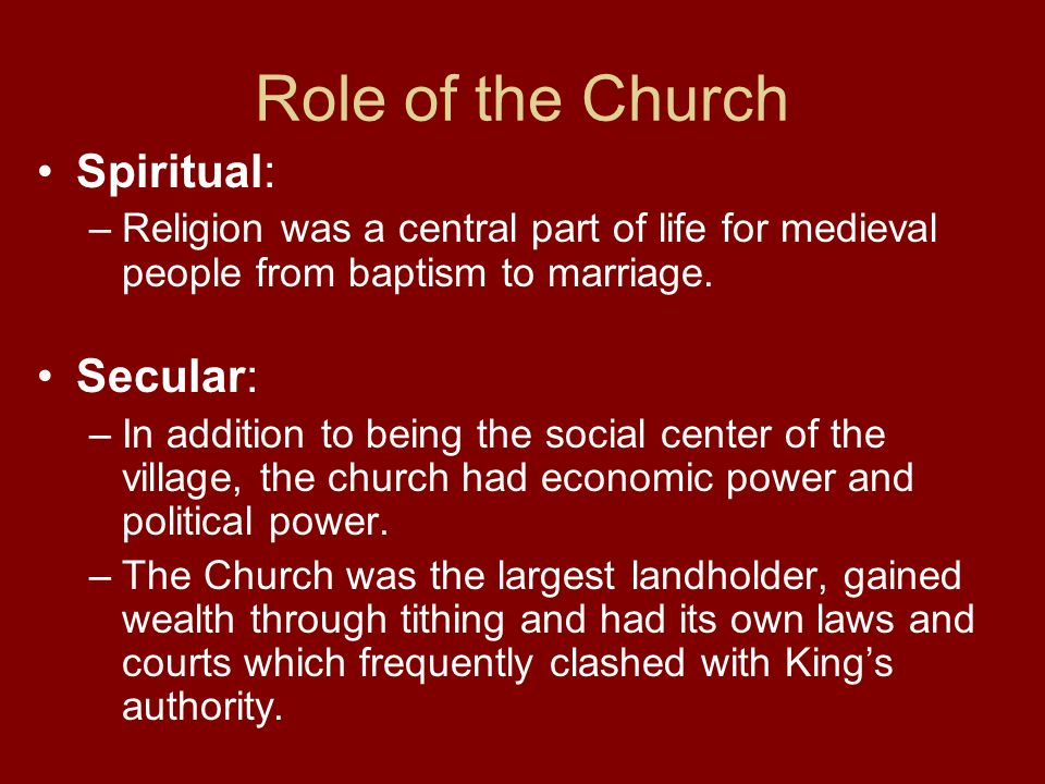 Role of the Church Spiritual: Secular: