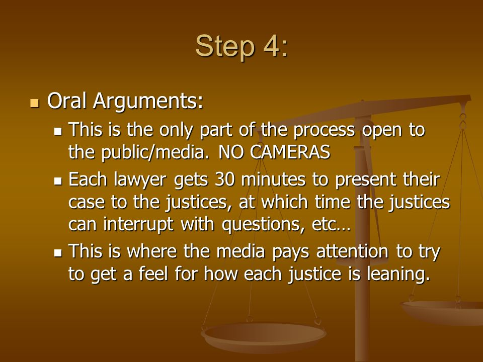Step 4: Oral Arguments: This is the only part of the process open to the public/media. NO CAMERAS.
