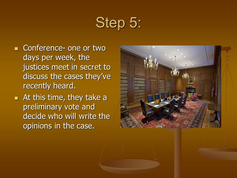 Step 5: Conference- one or two days per week, the justices meet in secret to discuss the cases they've recently heard.