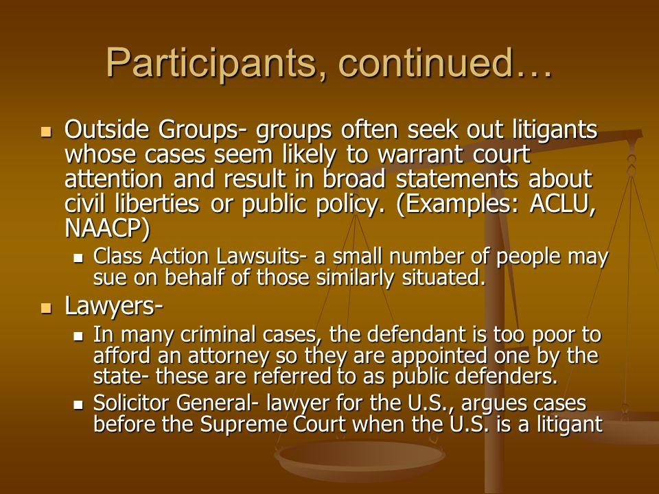 Participants, continued…