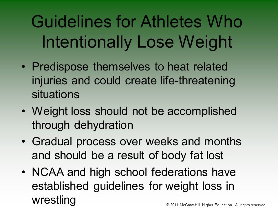 Guidelines for Athletes Who Intentionally Lose Weight