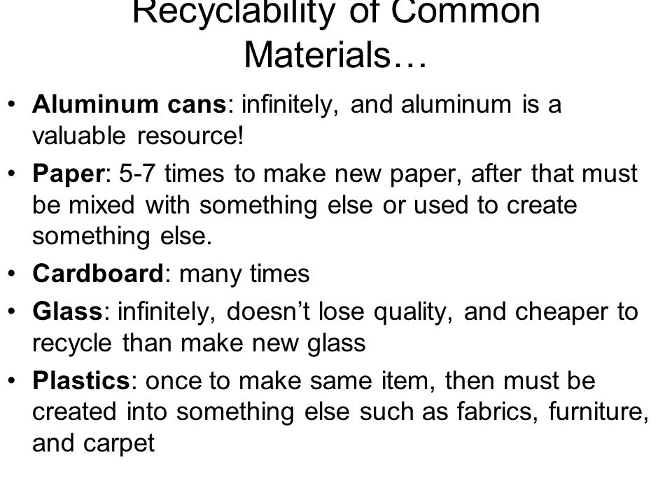 Recyclability of Common Materials…