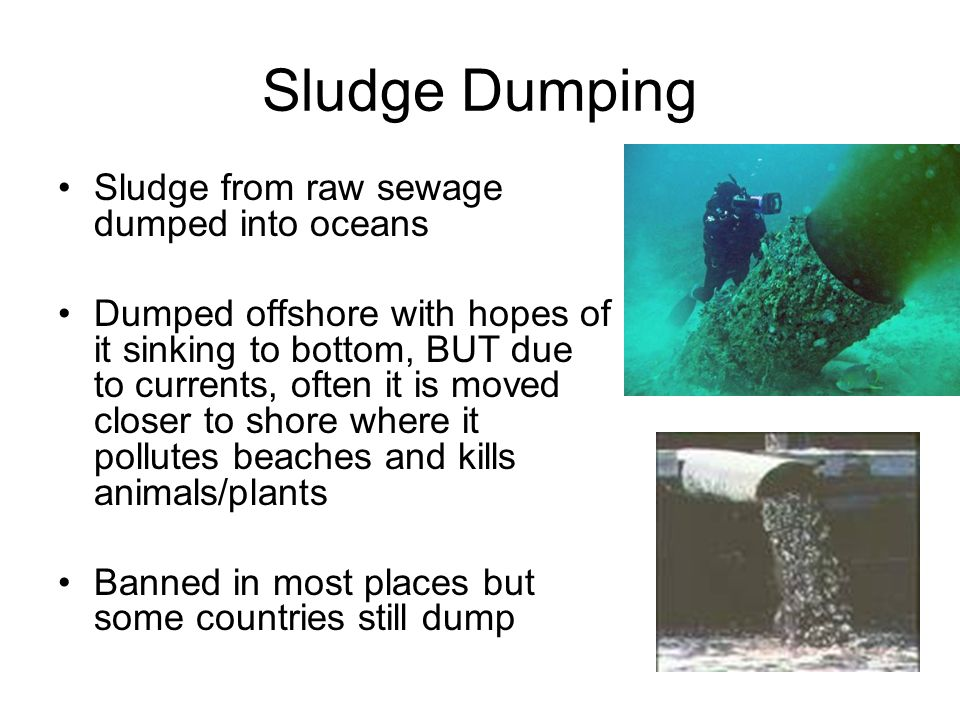 Sludge Dumping Sludge from raw sewage dumped into oceans