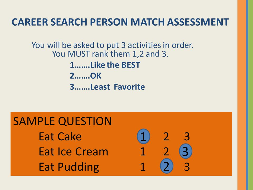 CAREER SEARCH PERSON MATCH ASSESSMENT