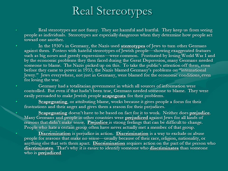 Real Stereotypes