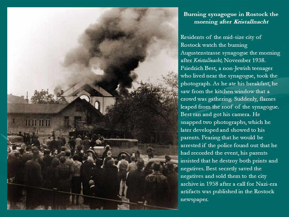 Burning synagogue in Rostock the morning after Kristallnacht