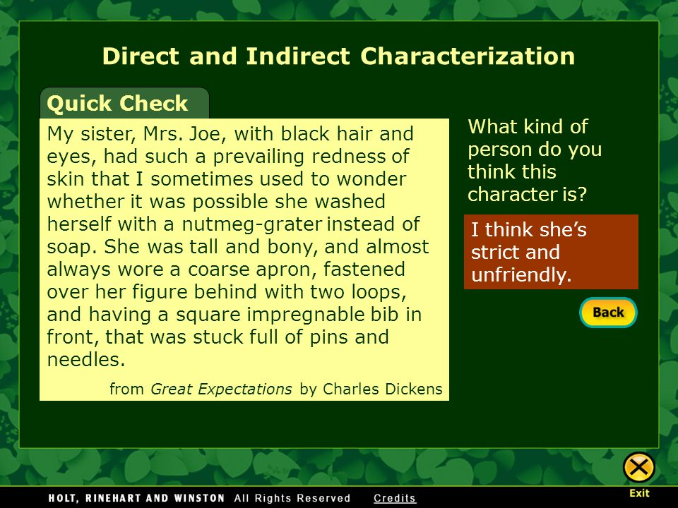 Direct and Indirect Characterization